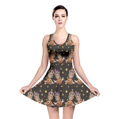Black Halloween Two Cartoon Owls With Pumpkins Reversible Skater Dress by CoolDesigns