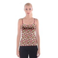 Red Pattern With Strawberries Graphic Stylized Drawing Spathetti Strap Top by CoolDesigns