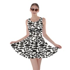 Black Pattern With Cartoon Cows Black And White Skater Dress