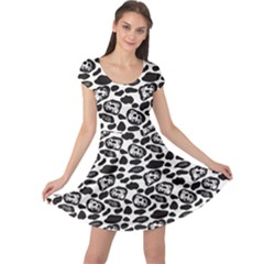 Black Pattern With Cartoon Cows Black And White Cap Sleeve Dress by CoolDesigns
