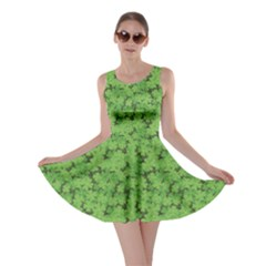 Green Pattern With Clover Leaves Skater Dress by CoolDesigns