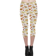Colorful Pattern With Different Pizza And Spices Capri Leggings