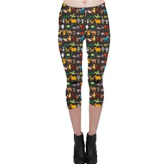 Black Set Of Funny Cartoon Animals Character On Black Zoo Capri Leggings by CoolDesigns
