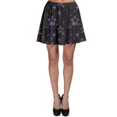 Black Blue Night With Shiny Silver Stars Skater Dress by CoolDesigns