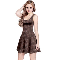 Brown Pattern Of Big Eyed Owls Family On Tree At Night Sleeveless Skater Dress