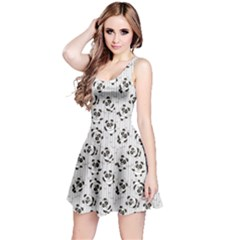 Gray Pattern With Cartoon Pandas Kids Sleeveless Skater Dress by CoolDesigns