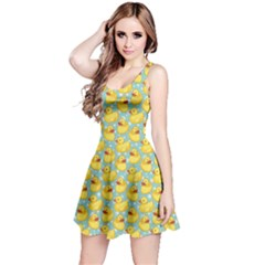 Green Pattern With Yellow Ducks Sleeveless Skater Dress