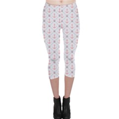 Gray Retro Pattern Polka Dot With Anchors Capri Leggings by CoolDesigns