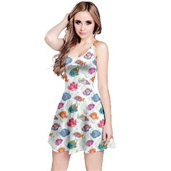 Colorful Sea Pattern Tropical Fish Medusa Ocean Short Sleeve Skater Dress
