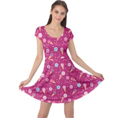 Red Pattern Of Sweets Ice Cream Candy Cap Sleeve Dress