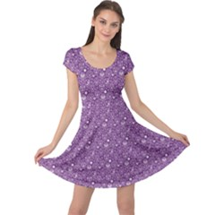 Purple Day Of The Dead Sugar Skull Cap Sleeve Dress by CoolDesigns
