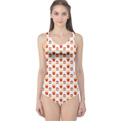 Pink Hamburger And Fries Pattern Women s One Piece Swimsuit by CoolDesigns