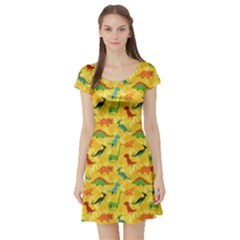 Yellow Cartoon Dinosaur Pattern Short Sleeve Skater Dress by CoolDesigns