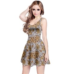 Brown Far Eastern Leopard Fur Print Sleeveless Skater Dress