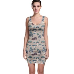 Blue Colorful Mushrooms Pattern Bodycon Dress by CoolDesigns