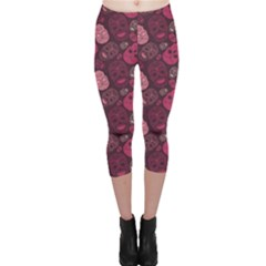 Red Pink And Purple With Skulls Capri Leggings by CoolDesigns