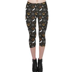 Black Halloween Horror Symbols Pattern Available Capri Leggings by CoolDesigns