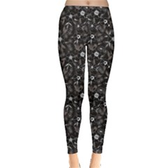 Black Abstract Flower Pattern Leggings
