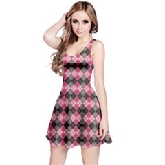 Colorful Argyle Pattern In Pink And Black Sleeveless Dress