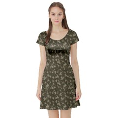 Green Camouflage Pattern Short Sleeve Skater Dress by CoolDesigns