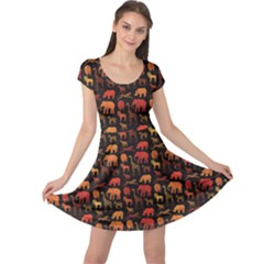 Dark Pattern With African Animals Cap Sleeve Dress by CoolDesigns