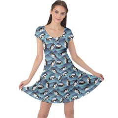Blue Penguin Pattern Abstract Penguin Crystal Ice Cap Sleeve Dress by CoolDesigns