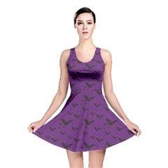Purple With Halloween Bats And Stars Reversible Skater Dress by CoolDesigns