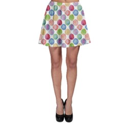 Colorful Watercolour Polka Dot Pattern Skater Skirt by CoolDesigns