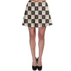 Black Chessboard Made Black And White Cats Skater Skirt by CoolDesigns