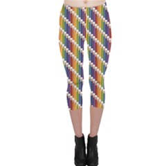 Colorful Colored Rainbow Pencils Pattern Capri Leggings by CoolDesigns