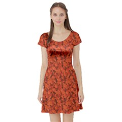 Orange Miscellaneous Rich Orange Fall Leaves Pattern Short Sleeve Skater Dress by CoolDesigns