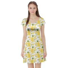 Yellow Pineapple Pattern Short Sleeve Skater Dress by CoolDesigns