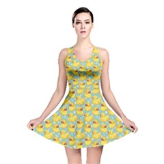 Green Pattern With Yellow Ducks Reversible Skater Dress by CoolDesigns