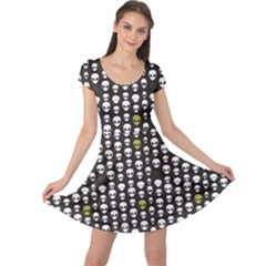 Black Alien Head Cap Sleeve Dress by CoolDesigns