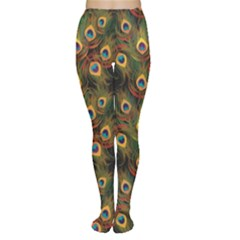 Green Pattern Peacock Feathers Women s Tights by CoolDesigns