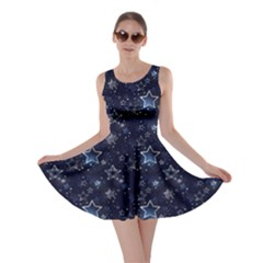 Black & Navy Stars Skater Dress