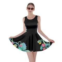 Black Strawberry Vines Skater Dress by CoolDesigns