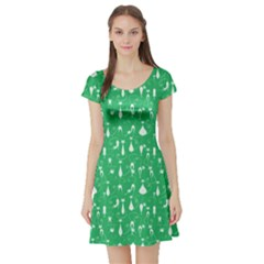 Green Cat Short Sleeve Skater Dress by CoolDesigns