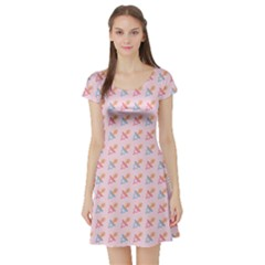 Pink Pacifier Pattern Short Sleeve Skater Dress by CoolDesigns