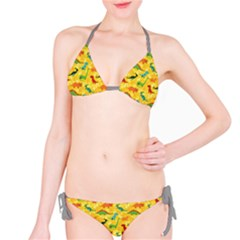 Yellow Cartoon Dinosaur Pattern Bikini Set by CoolDesigns