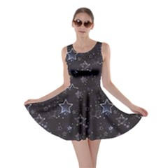 Black Blue Night With Shiny Silver Stars Skater Dress