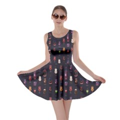 Black Cocktail Party Navy Pattern Skater Dress