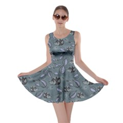 Blue Hedgehogs In The Night Forest Pattern Skater Dress