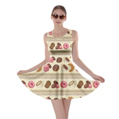 Brown Yummy Colorful Chocolate Cookies Donuts Macaroons Croissants Skater Dress by CoolDesigns