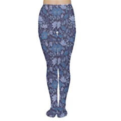 Blue Dark Night Flowers Pattern Women s Tights by CoolDesigns