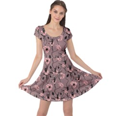Brown Pattern Of Stylized Dance Of Flowers And Ballerinas Cap Sleeve Dress by CoolDesigns