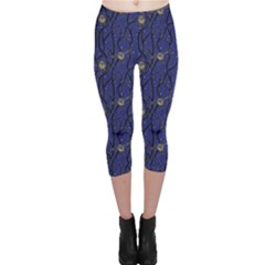 Blue Pattern Owls In The Night Forest Capri Leggings by CoolDesigns