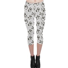 Gray Pattern With Cartoon Pandas Kids Capri Leggings by CoolDesigns