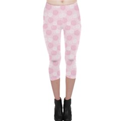 Pink Floral Pattern With Elegant Pink And White Roses Capri Leggings by CoolDesigns