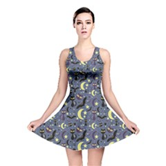 Blue Cute Pattern Night Life Cats And Bats Reversible Skater Dress by CoolDesigns